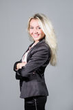 Senhora de sorriso weared no terno de negócio Fotografia de Stock Royalty Free