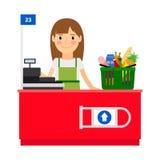 Senhora do caixa em seu local de trabalho ilustração stock