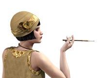 Senhora do Flapper no perfil Fotos de Stock Royalty Free
