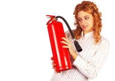 Senhora do negócio com extintor Fotografia de Stock Royalty Free