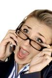 Senhora do negócio com móbil Foto de Stock Royalty Free