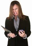 Senhora do negócio com problemas técnicos Fotografia de Stock