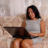 Senhora do negócio em casa Imagens de Stock