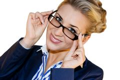 Senhora do negócio nos vidros Imagem de Stock Royalty Free