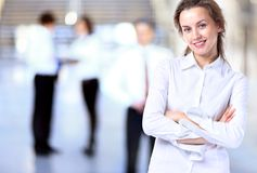 Senhora do negócio com olhar positivo Foto de Stock