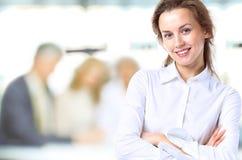 Senhora do negócio com olhar positivo Fotografia de Stock
