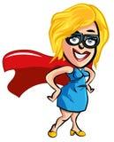 Senhora do trabalhador de escritório do super-herói dos desenhos animados Fotografia de Stock Royalty Free