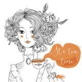 Senhora dos desenhos animados com copo de chá ilustração do vetor