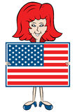 Senhora dos desenhos animados que prende a bandeira americana Imagem de Stock