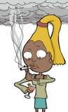 Senhora Drinking e fumo Fotografia de Stock Royalty Free