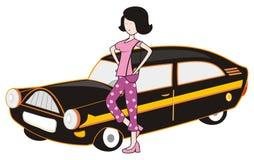 Senhora e carro ilustração royalty free