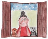 Senhora, e gatos que sentam-se na janela Imagens de Stock Royalty Free