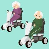 Senhora e homem superiores em um 'trotinette' da mobilidade Pessoas adultas que movem sobre o 'trotinette' Transporte das pessoas ilustração royalty free