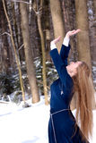 Senhora e neve Fotos de Stock