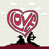 A senhora e o cavalheiro caem no amor Imagem de Stock