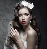 A senhora elegante no casaco de pele com véu e o prego projetam Imagens de Stock Royalty Free