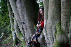 Senhora elegante que senta-se em uma árvore de faia foto de stock royalty free