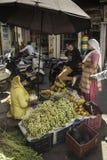 Senhora em Sari Chats amarelo aos clientes foto de stock