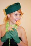 A senhora em um chapéu Fotografia de Stock Royalty Free
