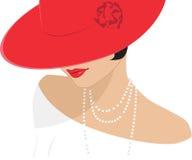 Senhora em um chapéu vermelho Foto de Stock Royalty Free