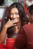 Senhora embaraçado Smiling Foto de Stock