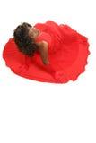 Senhora encantadora no vestido vermelho Fotos de Stock Royalty Free
