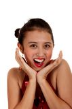 Senhora encantadora que olha surpreendida Foto de Stock Royalty Free