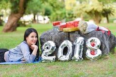 Senhora feliz mulher 2018 Foto de Stock