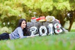 Senhora feliz mulher 2018 Foto de Stock Royalty Free