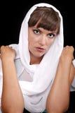 Senhora Green-eyed com véu branco Imagens de Stock Royalty Free