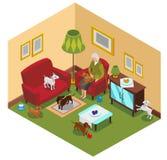 Senhora idosa Dogs Isometric Composition ilustração royalty free