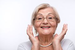 A senhora idosa está feliz fotografia de stock royalty free