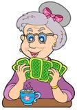 Senhora idosa que joga o póquer Fotos de Stock Royalty Free