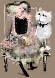 Senhora idosa que senta-se ao lado de um gato cinzento grande Imagens de Stock