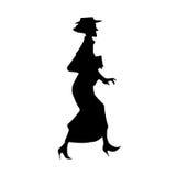 Senhora idosa Silhouette Imagens de Stock