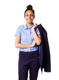 Senhora incorporada segura com o revestimento lançado sobre seu ombro Fotos de Stock