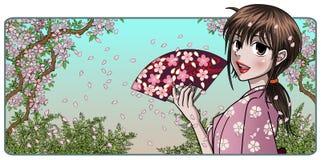 Senhora japonesa fina com ventilador Fotografia de Stock