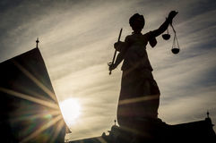 Senhora Justiça In Frankfurt, Alemanha Foto de Stock