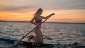 Senhora lindo que surfa no por do sol Liberdade, conceito da aventura video estoque