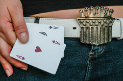 Senhora Luck e seus áss Fotos de Stock