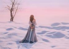 Senhora misteriosa da Idade Média com cabelo escuro no vestido azul cinzento delicado no deserto nevado com parte traseira aberta foto de stock