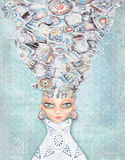Senhora misteriosa, interessante Pessoa feericamente Mulher majestosa Fotos de Stock Royalty Free