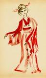 A senhora na dança do quimono ilustração do vetor