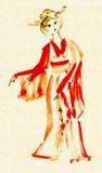 A senhora na dança do quimono ilustração royalty free