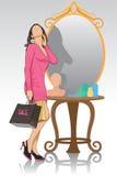 Senhora na frente do espelho Imagens de Stock