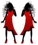 Senhora na silhueta vermelha do vestido Fotos de Stock