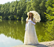 Senhora no branco Foto de Stock Royalty Free