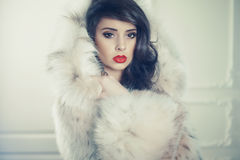 Senhora no casaco de pele luxuoso foto de stock royalty free