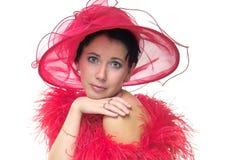 Senhora no chapéu vermelho Imagem de Stock Royalty Free