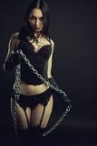 Senhora no preto Imagens de Stock Royalty Free